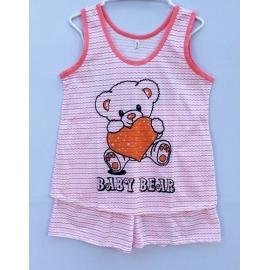 W8G1C03 Free size แขนกุด ลายน้องหมีกับหัวใจสีส้มลายตัด โทนสีส้ม