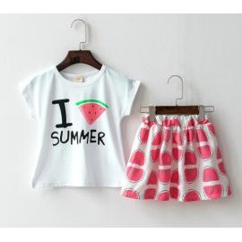 KG01003 ชุดเด็กเสื้อลาย I Love Summer กับกระโปรงลายแตงโม สีชมพู