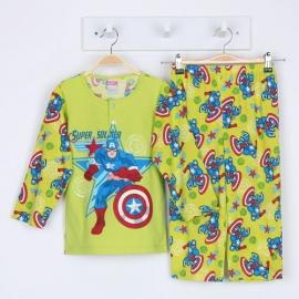 B0B1H51 Size 1 อายุ 6-12 เดือน คอกลม การ์ตูนลิขสิทธิ์ Marvel ลายกัปตันอเมริกาสุดเท่ พื้นสีเขียว