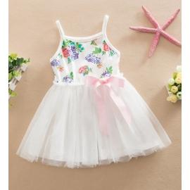KG01082 เดรสเด็กสายเดี่ยวผ้ายืดลายดอกไม้กระโปรงผ้ามุ้งฟูฟ่องสีขาว