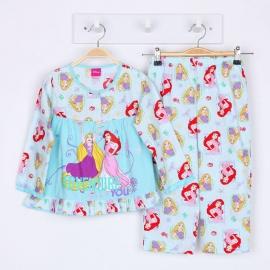 G0A1P68 Size 1 อายุ 1 ขวบ ผ้าวูเว่น+ผ้ายืด ลายลิขสิทธิ์ Disney Princess ลายเจ้าหญิงโฉมงาม, นิทราและซินเดอเรล่า โทนสีฟ้า