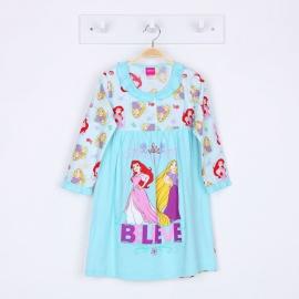 G6E1A59 Size 14ผ้ายืด+วูเว่น อายุ10-12ขวบ ลายลิขสิทธิ์ Disney Princess  ลายซิลเดอเรล่า/โฉมงามกับปราสาทสีชมพู โทนสีฟ้า