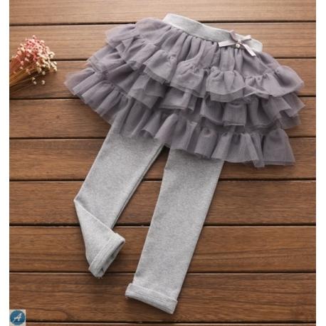 KG09005 กางเกงเลคกิ้งกระโปรง แต่งผ้าชีฟอง3ชั้น ติดโบว์เล็กๆ ที่เอว  พื้นสีเทา