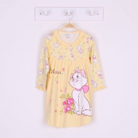 G6E1B26 Size 14 อายุ9-10ขวบ ผ้ายืด ลายลิขสิทธิ์แมวมาลี ลายแมวมาลีกับดอกไม้ โทนสีเหลือง