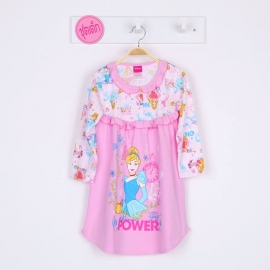 G7E1A07 Size 16 อายุ11-12ขวบ ผ้ายืด ลายลิขสิทธิ์ Disney princess ลายเจ้าหญิงซินเดอเรล่าเอามือไขว้หลัง พื้นสีชมพู