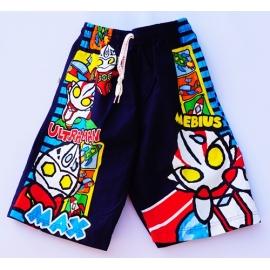 2112061กางเกงขาสั้นเด็ก Size M 3-5 ขวบ ผ้าคอตตอน ลายลิขสิทธิ์  อุลตร้าแมน MEBIUS พื้นสีกรม