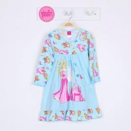 G3E1J49 size 6 อายุ 4 ขวบ ผ้ายืด ลายลิขสิทธิ์ Disney princess ลายเจ้าหญิงออโรล่ากับปราสาท พื้นสีฟ้า