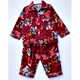 B1A2T14 อายุ1-2 ขวบ ผ้าคอตตอน Tom&Jerry ลายทอมเจอร์รี่กับตัวโน๊ต พื้นสีแดงเลือดหมู