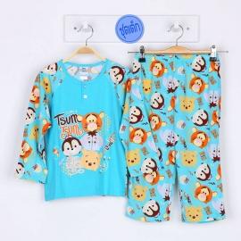 B1A1E04 Size 2 อายุ 2 ขวบ คอกลม  ลายลิขสิทธิ์ Disney Tsum ลายหมีพูห์และผองเพื่อน โทนสีฟ้า