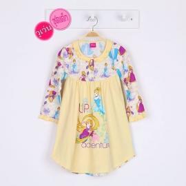 G2E1A86 size 4 อายุ 3 ขวบ ผ้ายืด+วูเว่น ลายลิขสิทธิ์ Disney Princess ลายราพันเชล+ซินเดอเรล่า adventure โทนสีเหลือง