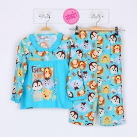 G5A1E03 Size12 อายุ7-8 ขวบ คอระบาย  ลายลิขสิทธิ์ Disney Tsum ลายการ์ตูนหมีพูห์และผองเพื่อน พื้นสีฟ้า