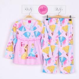 G6A1X13 Size14 อายุ9-10 ขวบ ลายลิขสิทธิ์ Disney Princess ลายเจ้าหญิงเบลใส่มงกุฎ+ซินเดอเรล่าถือรองเท้า พื้นสีชมพู