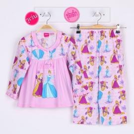G7A1X85 Size16 ผ้ายืด+วูเว่น(ไม่ยืด) ลายลิขสิทธิ์ Disney Princess ลายเจ้าหญิงราพันเซลถือกะทะ+ซินเดอเรล่าถือรองเท้า พื้นชมพู
