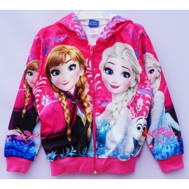 G21JP07 Size 4 อายุ2-3 ขวบ เสื้อกันหนาว Fozen ลายเจ้าหญิงแอลซ่ากับแอนนา  โทนสีชมพูเข้ม