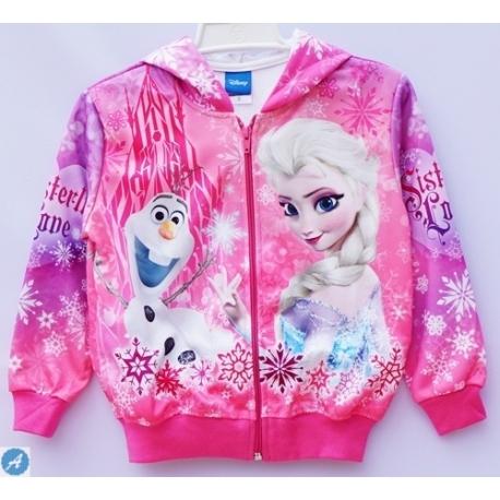 G11JP08 Size 2 อายุ1-2 ขวบ เสื้อกันหนาว Fozen ลายเจ้าหญิงแอลซ่ากับโอราฟ โทนสีชมพู