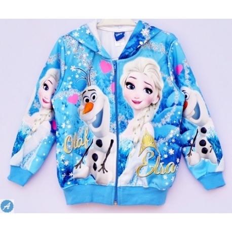G31JP10 Size S  อายุ3-4 ขวบ เสื้อกันหนาว Fozen ลายเจ้าหญิงแอลซ่ากับโอราฟ โทนสีฟ้า