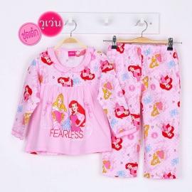 G4A1P86 Size 10 อายุ 6 ขวบ ผ้าวูเว่น+ยืด ลายลิขสิทธิ์ Disney Princess ลายเจ้าหญิงนิทรา+แอเรียลยืนโพสท่า โทนสีชมพู