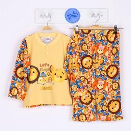 B5A1E05 Size 12 อายุ 7-8 ขวบ ผ้ายืด คอกลมกระดุม 2เม็ด ลายลิขสิทธิ์ Disney Tsum ลายรวมการ์ตูนทีซุมน่ารักสดใส โทนสีเหลือง