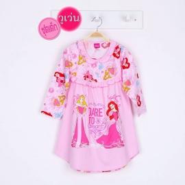 G4E1J58 ยืด+วู่เว่น Size 8 อายุ 6 ขวบ ลายลิขสิทธิ์ Disney Princess ลายเจ้าหญิงนิทรา+แอเรียล DARE TO dream โทนสีชมพู