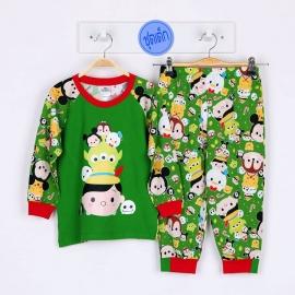 B2A1E06 Size 3 อายุ 3 ขวบ คอกลม ผ้ายืด ลายลิขสิทธิ์ Disney Tsum ลายรวมการ์ตูนทีซูมสดใสน่ารัก โทนสีเขียว