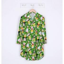 W8E1E05 ผ้ายืด คอปก ลายลิขสิทธิ์ Disney TSUM ลายรวมการ์ตูนทีซูมน่ารักสดใส พื้นสีเขียว