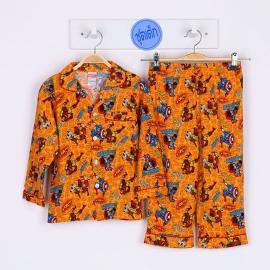 B3A1P17 Size 6 อายุ 4 ขวบ คอปก ลายการ์ตูนลิขสิทธิ์ Marvel ลายกัปตันอเมริกากับไอรอนแมน พื้นสีส้ม
