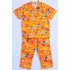 M8B2T41 ผ้าคอตตอน คอปก Tom and Jerry ลายทอมแอนด์เจอร์รี่ยิ้มดีใจ กับลูกศร พื้นสีส้ม