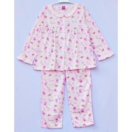 G0A1Z64 Size 1 อายุ 6-12 เดือน ผ้ายืด คอระบาย ลายปราสาท Princess กับผีเสื้อ พื้นสีชมพู