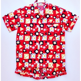W0C2P01 Size XXL คอปก ผ้าคอตตอน ลายกุ๊กไก่ my family โทนสีแดง