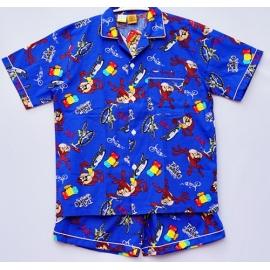 B5C2U02 อายุ 7-8 ขวบ ผ้าคอตตอน Looney Tunes ลายทาชขี่จักรยาน โทนสีน้ำเงิน