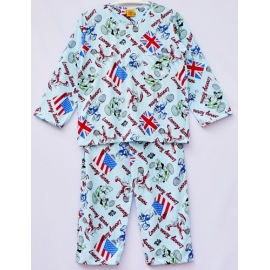 B4A1U54 อายุ 4-6 ขวบ ผ้ายืด คอกลม Looney Tunes ลายลูนนี่ตูนเล่นเทนนิส พื้นสีฟ้า