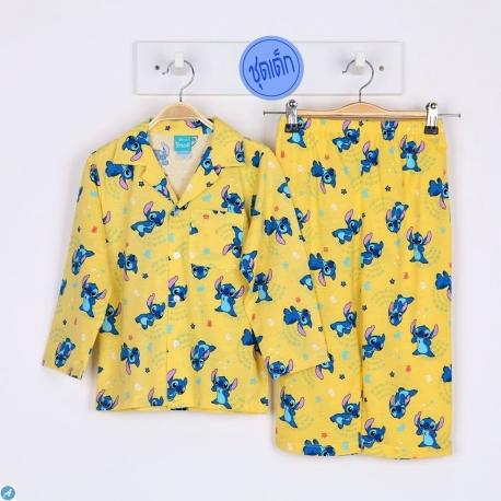 B1A1S01 Size 2 อายุ 2 ขวบ คอปก การ์ตูนลิขสิทธิ์ Stitch ลายสติชยืนท้าวคาง พื้นสีเหลือง