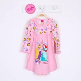 G7E1A16 Size 16 อายุ11-12ขวบ ผ้ายืด ลายลิขสิทธิ์ Disney princess ลายเจ้าหญิงแอเรียลกับราพันเซลยืนเท้าเอว โทนสีชมพู