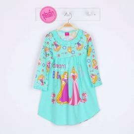 G4E1P06 Size10 อายุ 6 ขวบ ผ้ายืด ลายลิขสิทธิ์ Disney princess ลายเจ้าหญิงราพันเซลกับนิทรา dream BIG โทนสีเขียว