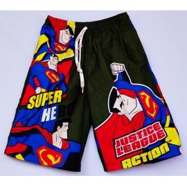 2114018 กางเกงขาสามส่วนเด็ก Size XL 9-11 ขวบ ผ้าคอตตอน ลายลิขสิทธิ์ ิ ซุปเปอร์แมน  พื้นสีเขียวขี้ม้า