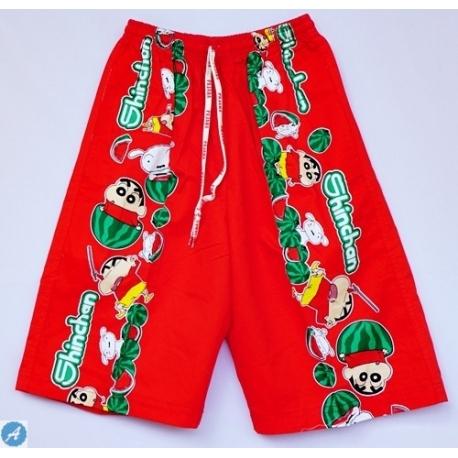 2115081 กางเกงขาสามส่วนเด็ก Size XXL 12-15 ขวบ ผ้าคอตตอน ลายซินจังกับแตงโมลูกโต พื้นสีแดง