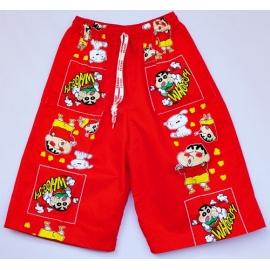 2115082 กางเกงขาสามส่วนเด็ก Size XXL 12-15 ขวบ ผ้าคอตตอน ลายซินจังกับหมาสีขาว พื้นสีแดง