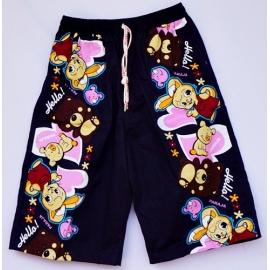 2115083 กางเกงขาสามส่วนเด็ก Size XXL 12-15 ขวบ ผ้าคอตตอน ลายกระต่าย+หมี+หมู พื้นสีกรม