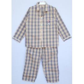 B3A3P38 อายุ3- 4 ขวบ คอปก ผ้าทีซี ลายสก๊อตบลูเบอรี่ โทนสีน้ำตาล
