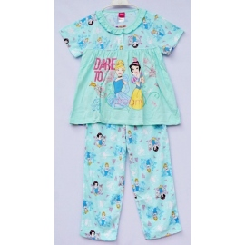 G3B1P15 Size 6 อายุ 4 ขวบ ลายลิขสิทธิ์ Disney Princess ลายเจ้าหญิงซินเดอเรล่ากับสโนไวท์ DARE TO dream โทนสีเขียวมินท์