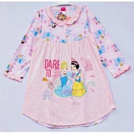 G4E1P08 Size10 อายุ 6 ขวบ ผ้ายืด ลายลิขสิทธิ์ Disney princess ลายเจ้าหญิงซินเดอเรล่ากับสโนไวท์ DARE TO dream โทนสีชมพู