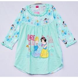 G6E1A24 Size 14 อายุ9-10ขวบ ผ้ายืด ลายลิขสิทธิ์ Disney Princess ลายเจ้าหญิงซินเดอเรล่ากับสโไวท์ DARE TO dream  โทนสีเขียวมินท์