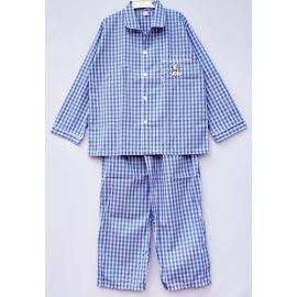 B7A3Z34 Size14-16 คอปก ลายสก็อต สีฟ้า+ขาว+เทา