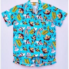 B7C2L09 อายุ14-16ปี ผ้าคอตตอน ลายการ์ตูนลิขสิทธิ์ Looney Tunes  ลายลูนนี่ตูนกับผองเพื่อน พื้นสีฟ้า