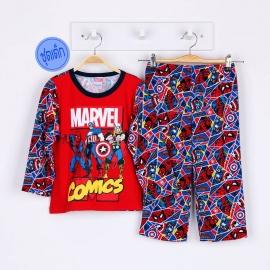 B1A1H75  Size 2 อายุ 2 ขวบ ผ้ายืด คอกลม การ์ตูนลิขสิทธิ์ Marvel ลายรวม 3 ซุปเปอร์ฮีโร่ โทนสีแดง