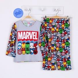B1A1H76 Size 2 อายุ 2 ขวบ ผ้ายืด คอกลม การ์ตูนลิขสิทธิ์ Marvel ลายรวม 5 ซุปเปอร์ฮีโร่ โทนสีเทา