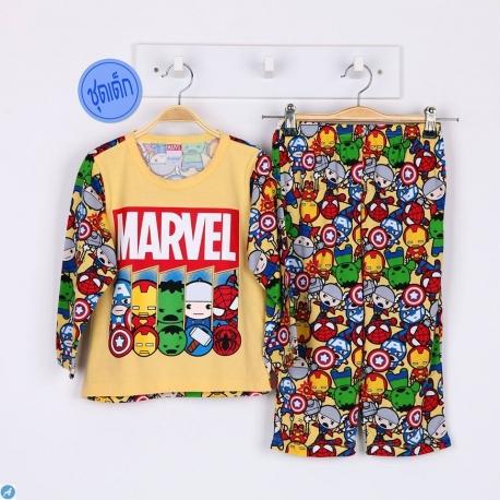 B1A1H77 Size 2 อายุ 2 ขวบ ผ้ายืด คอกลม การ์ตูนลิขสิทธิ์ Marvel ลายรวม 5 ซุปเปอร์ฮีโร่ โทนสีเหลือง
