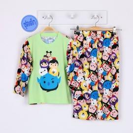 B4A1E12 Size10 อายุ 6 ขวบ คอกลม  ลายลิขสิทธิ์  Disney Tsum ลายรวมการ์ตูนทีซูมน่ารักสดใส พื้นสีเขียว