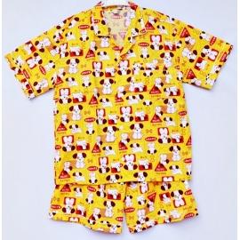 W0C2P15 Size XXL คอปก ผ้าคอตตอน ลายน้องหมากับตัวอักษรญี่ปุ่น โทนสีเหลือง