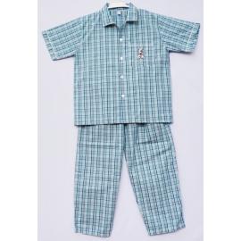 B7B3Z14 Size14-16 ผ้าทีซี ลายสก๊อตสีเขียว+ฟ้า+น้ำเงิน+ขาว+ดำ